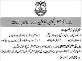 PEC 8th Class Registration Form 2020 Download Last Date
