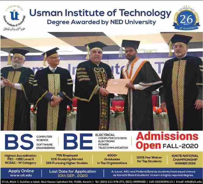 Usman Institute Of Technology UIT Admission 2020 Online Form