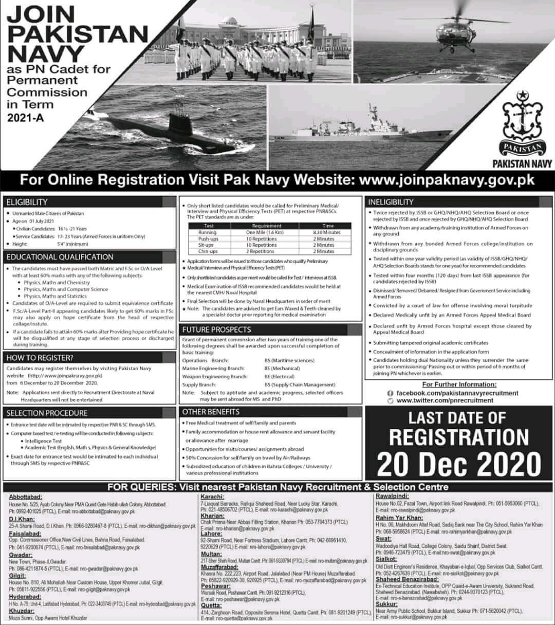 Join Pak Navy as PN Cadet Online Registration 2021-A Permanent Commission