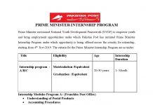 Pakistan Post Office Internship Program 2019 Application Form Download