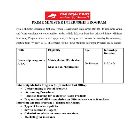Pakistan Post Office Internship Program 2019 Application Form Download