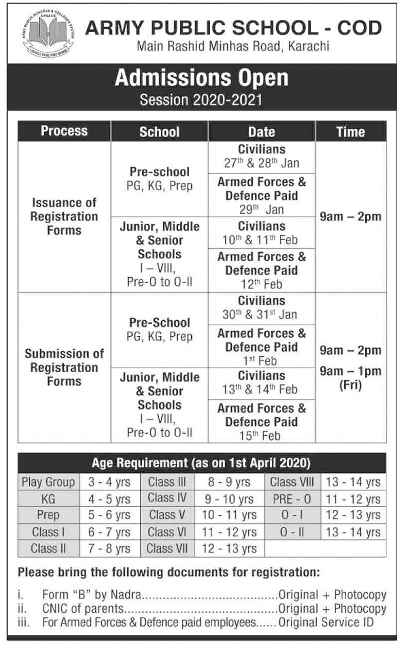 Army Public School APS Karachi Admission 2020