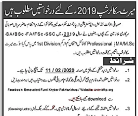 KPK Government Merit Scholarship 2020 Form Download