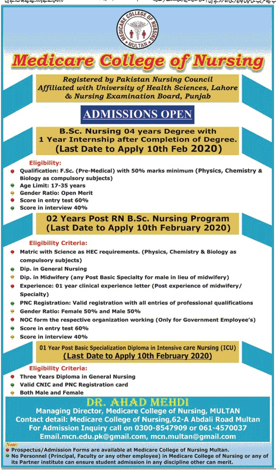 Medical College of Nursing Multan Admission 2020