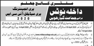 Military College Jhelum 1st Year Admission 2020 Entry Test Result