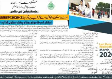 Sindh School Education Scholarship Program 2021 Application Form