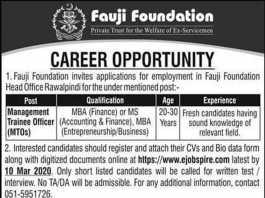 Fauji Foundation MTO Jobs 2020 Application Form Download