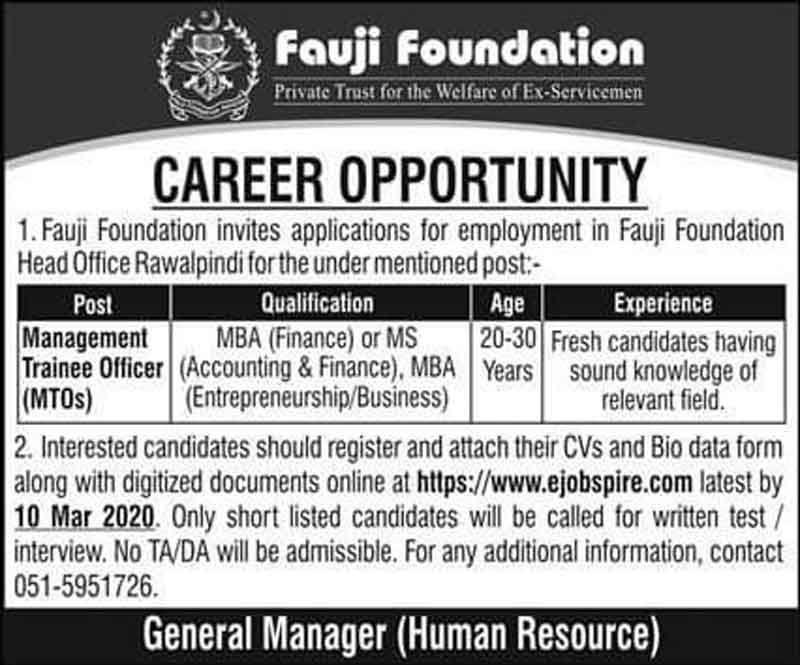 Fauji Foundation MTO Jobs 2020 Application Form Download