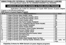 BSc Nursing Admission 2020 In Punjab for 4 Years Program