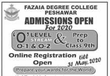 Fazaia Degree College Peshawar Admission 2020