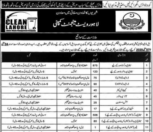 LWMC Lahore Waste Management Company Jobs 2020