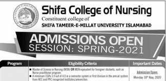 Shifa College of Nursing Islamabad Admission 2020