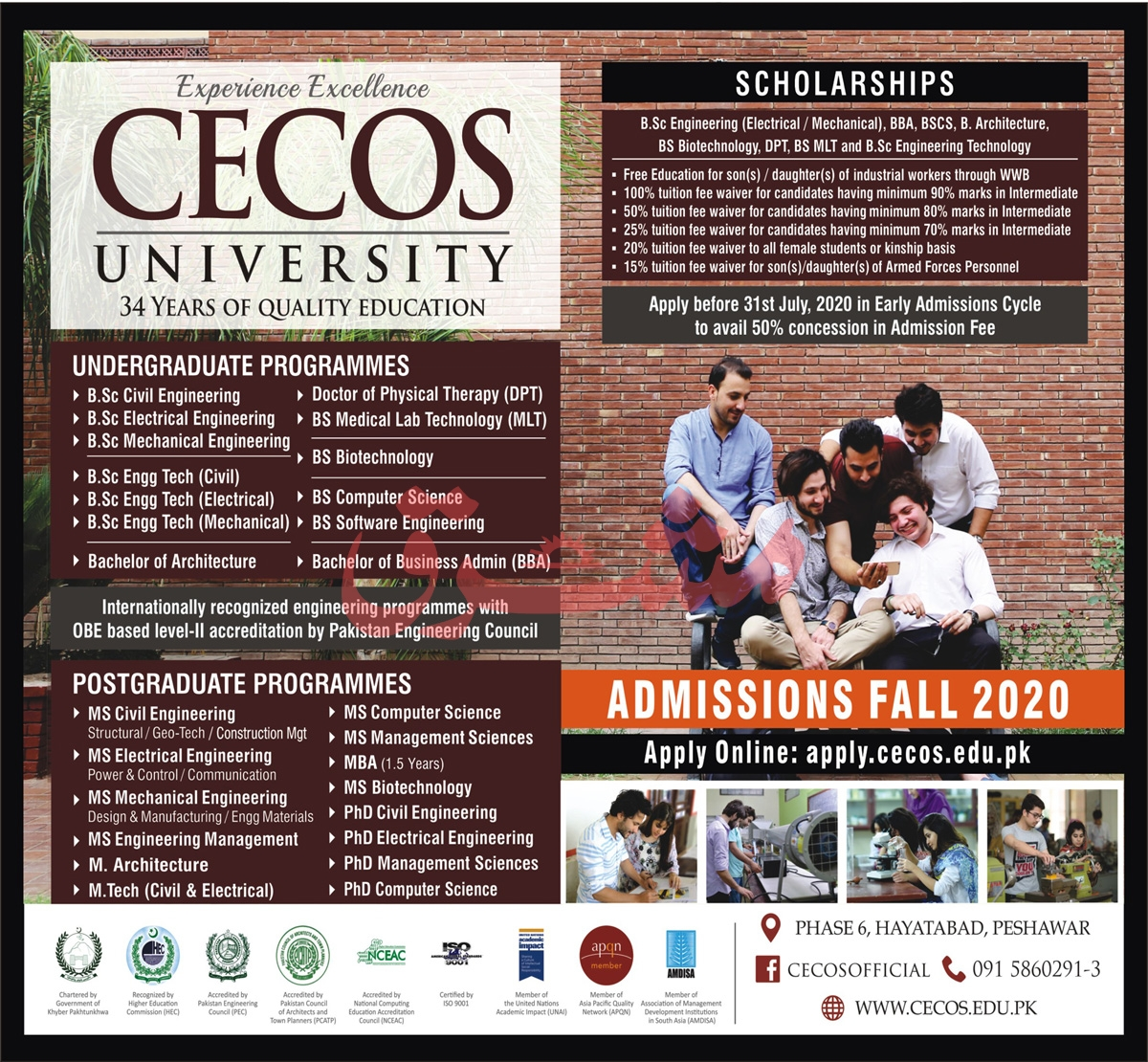 CECOS University Peshawar Admission 2020 Last Date