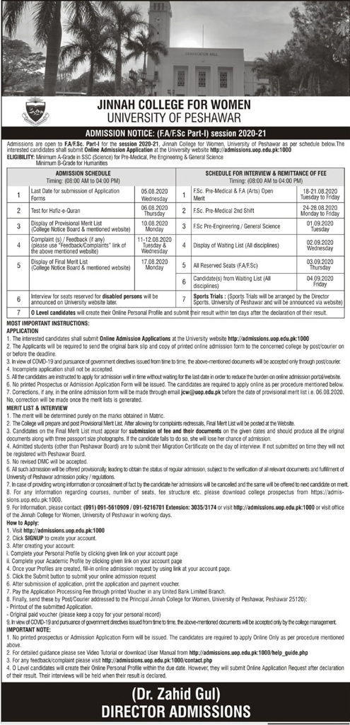Jinnah College for Women Peshawar Admission 2020 Last Date