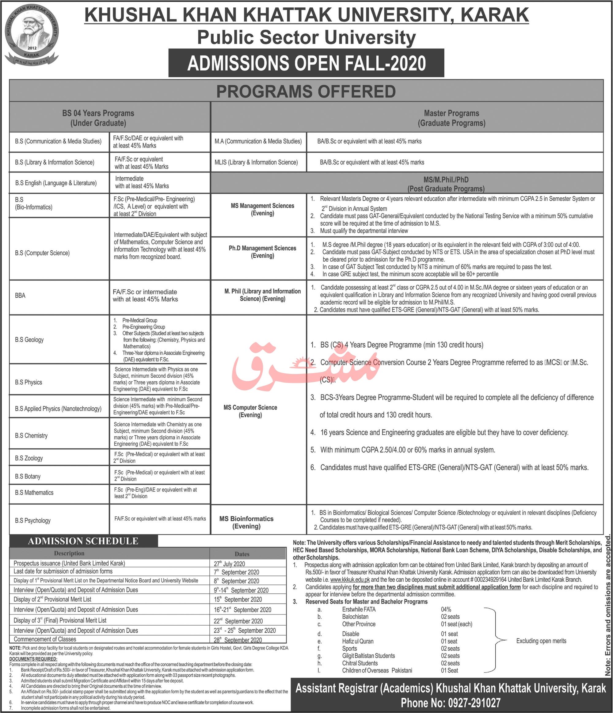 Khushal Khan Khattak University Karak Admission 2020