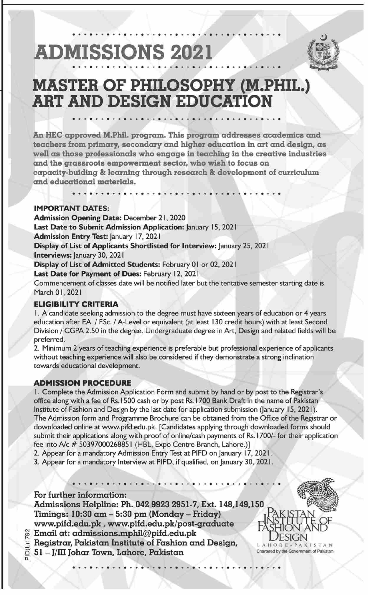 Pakistan Institute of Fashion and Design PIFD Lahore Admission 2021