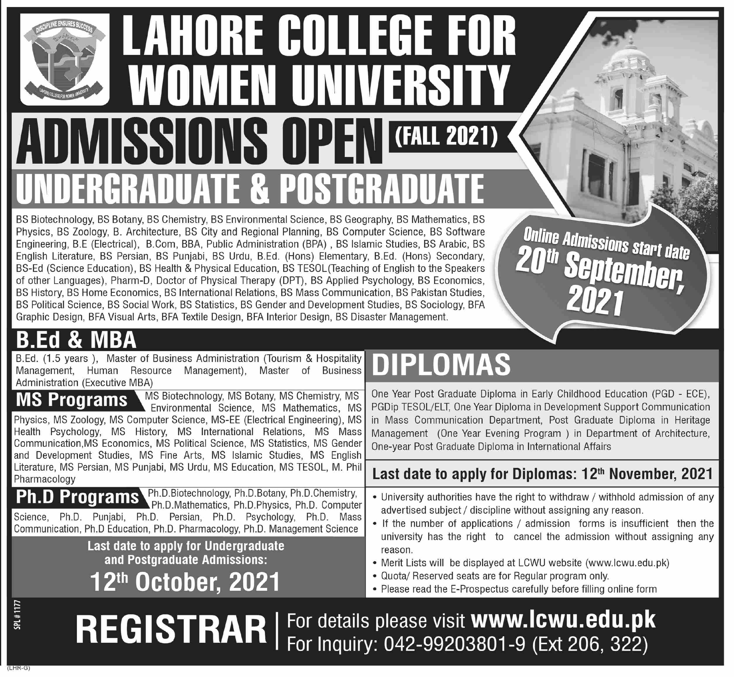 Lahore College for Women University LCWU Admission 2021