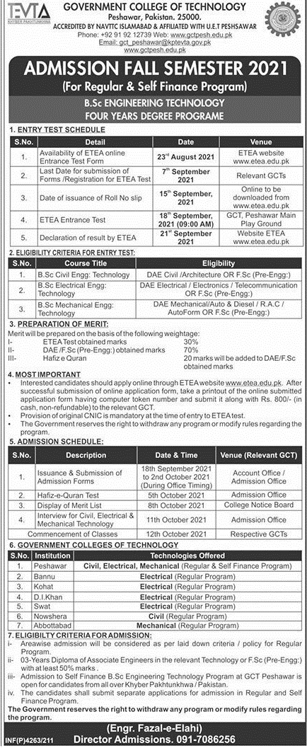 Government College of Technology Peshawar Admission 2021 Last Date, Form
