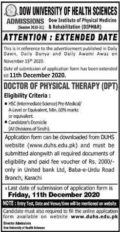 Dow University Of Health Sciences Admissions 2020