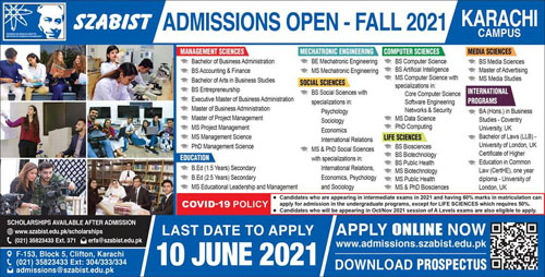 SZABIST Karachi Admissions 2021 Form Online