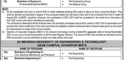 Mehran University Of Engineering And Technology MUET Admission 2021