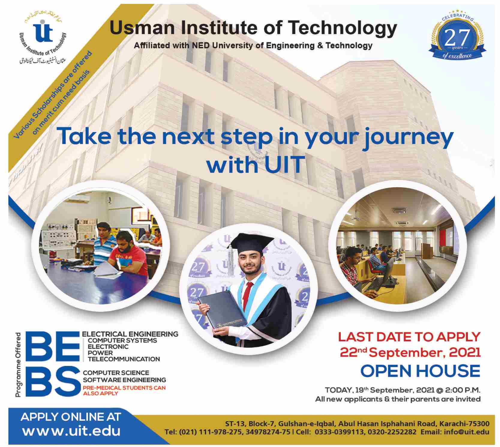 Usman Institute Of Technology UIT Admission 2021 Online Form