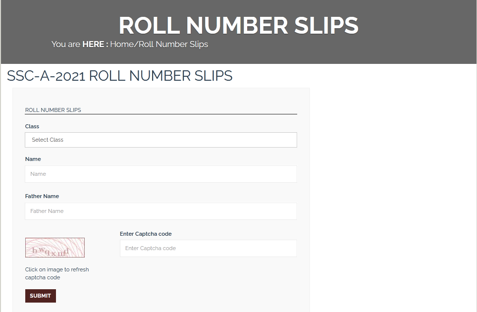 BISE Kohat 9th, 10th Class Roll Number Slip 2021 Download
