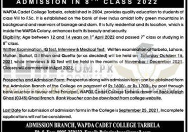 Wapda Cadet College Tarbela 8th Class Admission 2021