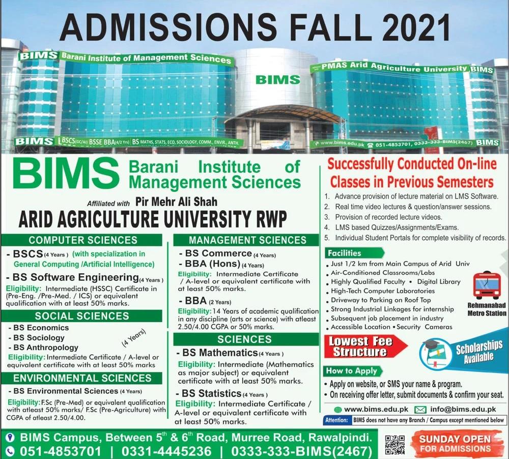 Barani Institute of Management Sciences Rawalpindi Admission 2021