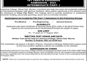 Lawrence College Murree Admissions 2021 Form Download