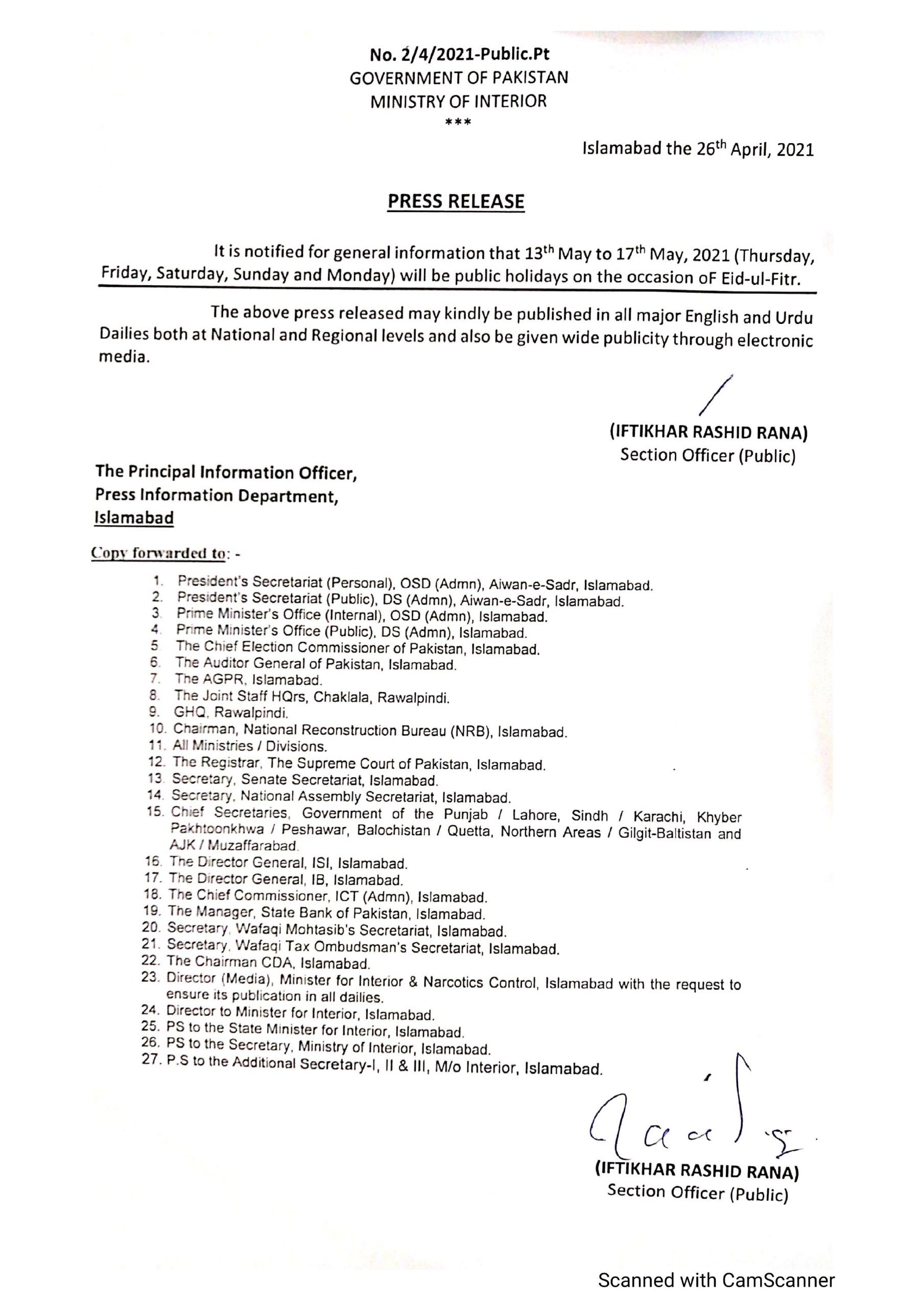 Eid Ul Fitr Holidays 2021 in Pakistan Announced By Government