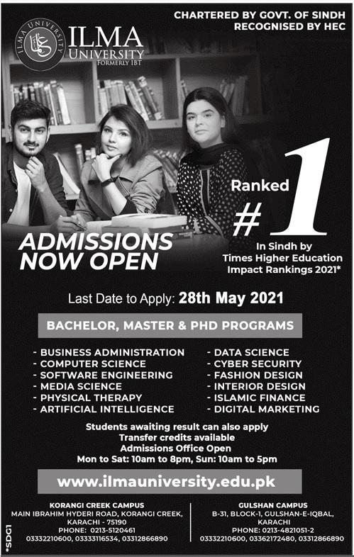 Ilma University Karachi Admission 2021