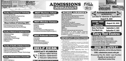 Mirpur University of Science & Technology MUST AJK Admissions 2021
