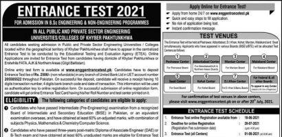 UET Peshawar Entry Test Online Registration 2021