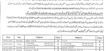 BISE Lahore Board Matric Date Sheets 2021