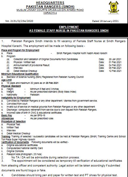 Join Pak Rangers 2021 Online Apply Jobs