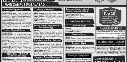 University Of Agriculture Postgraduate Admission 2021