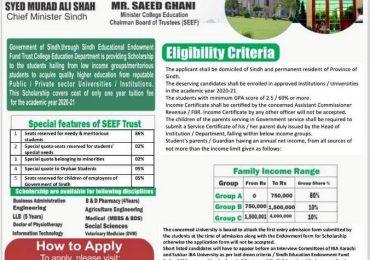 Sindh Education Endowment Fund Scholarship 2021 Application Form