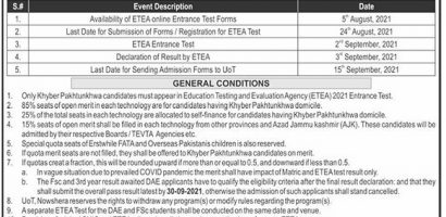 University Of Technology Nowshera Admissions 2021 Last Date