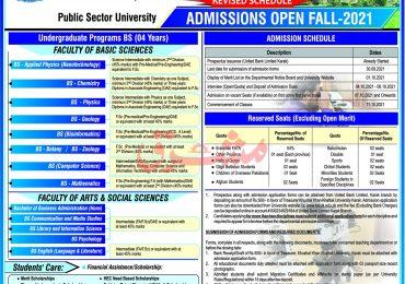 Khushal Khan Khattak University Merit List 2021