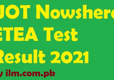 UOT Nowshera ETEA Test Result 2021