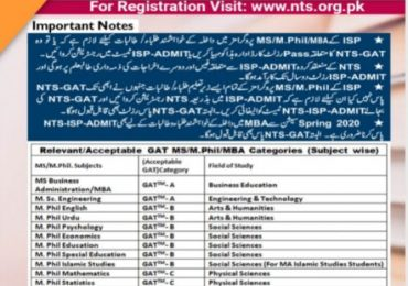 NTS ISP Entry Test Result 2021