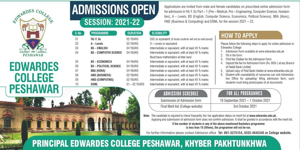 Edwardes College Peshawar Admission 2021 1st Year Merit List
